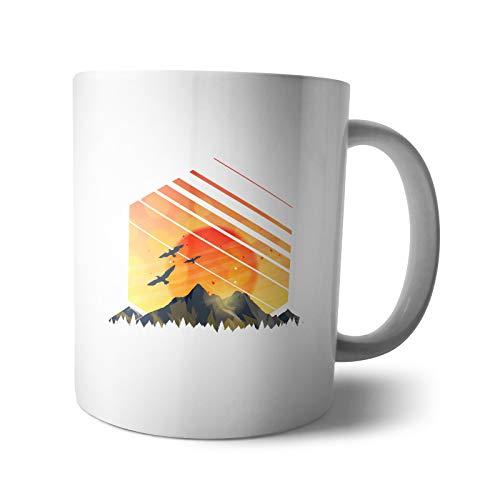 Kaffee-Becher - Tasse Wald | Natur Bergsteiger Berg grün Tiere Wolf Wandern grün Motiv Naturbursche Waldtiere, Design:Design 4, Verpackung:Geschenkbox (Kaffee-tassen Grüner Berg)