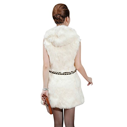 VLUNT Damen Fellweste Weste Frauen Lederweste Fellweste Faux Fur Vest Gilet Waistcoat Winter Cream-coloured