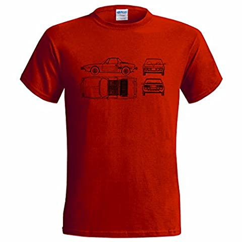 FIAT BERTONE X1/9 BLUEPRINT MENS T SHIRT CLASSIC CAR (XLARGE(46-48),