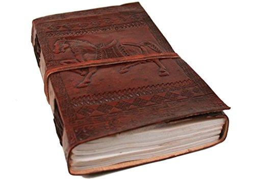 Kamelleder Notizbuch handgefertigt Handgebunden in Leder Pferd Large, blanko Seiten (23cm x 13cm x...