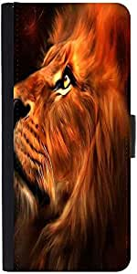 Snoogg Lion Hearted Graphic Snap On Hard Back Leather + Pc Flip Cover Moto-G