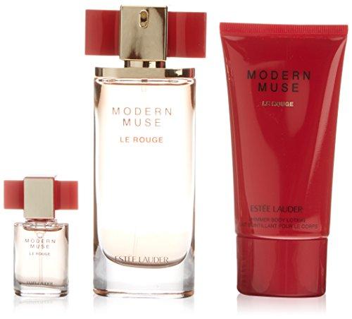 Estee Lauder Mini (Estée Lauder Modern Muse Le Rouge Geschenkset für Sie (Eau de Parfum Spray 50ml, Bodylotion 75ml + Mini-Eau de Parfum 4ml))