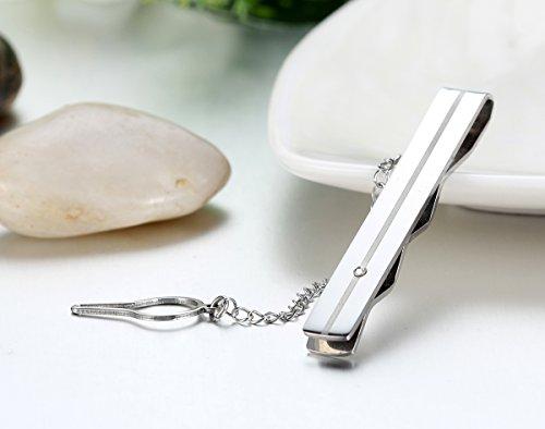 JewelryWe Pince à Cravate Homme Haute Qualité Faux Diamant Acier Inoxydable Mariage pour Homme Avec Sac Cadeau(Couleur Optionnel) Argent