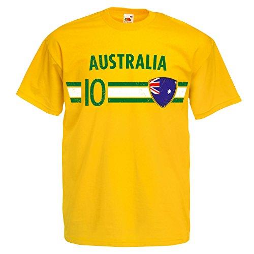 Fußball WM T-Shirt Fan Artikel Nummer 10 - Weltmeisterschaft 2018 - Länder Trikot Jersey Herren Damen Kinder Australien Australia L