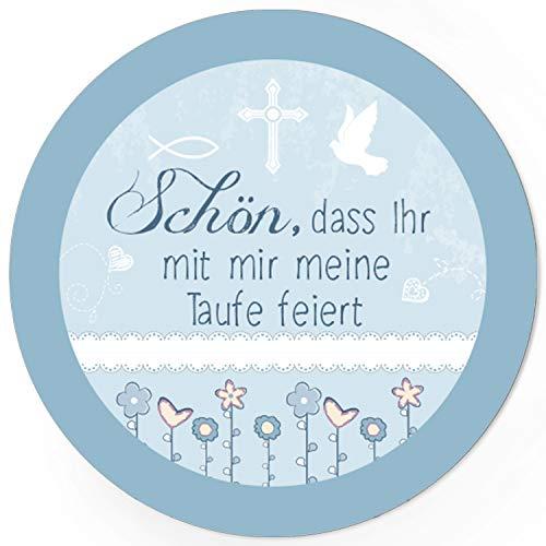 48 runde Design Etiketten - Schön, dass Ihr mit mir meine Taufe feiert - Blaue Symbole/Thema getauft/Aufkleber für die Feier und Gäste als Dankeschön