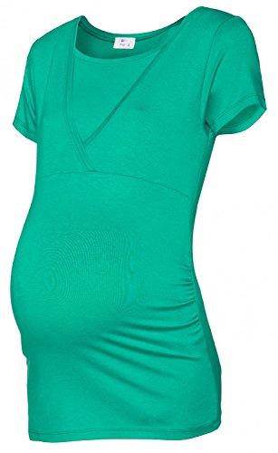 Happy Mama. Damen Umstandsmoden Top Stillshirt Lagendesign Empire-Taille. 790p Teal