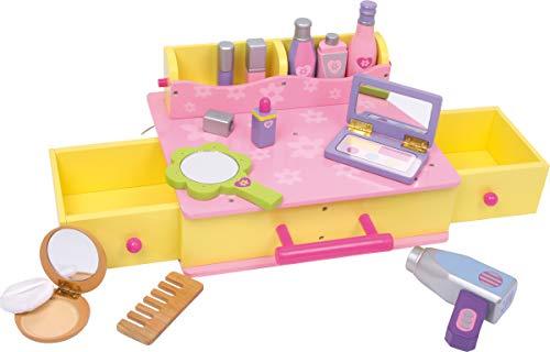small foot Company 1556 Kosmetikkoffer aus Holz mit viel Zubehör, Make up und Frisier, Komplettset Spielzeug