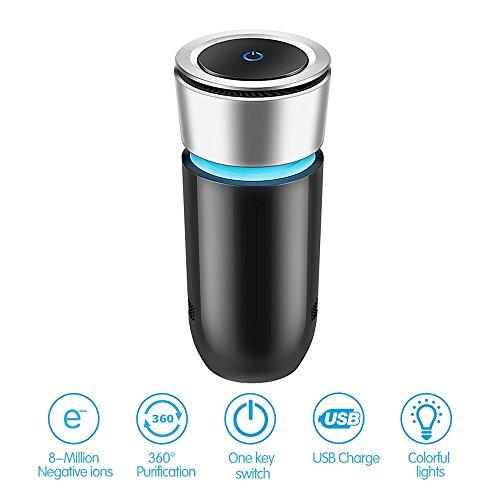 Preisvergleich Produktbild T-Hermes Auto Luftreiniger USB Luftwäscher - Sterilisation durch negative Sauerstoff Ionenentfernen Rauchen Staub Pollen und schlechte Gerüche und Rauch