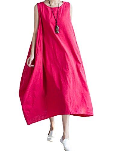 MatchLife Damen Leinenkleid Ohne Arm A-Linie Kleid Maxi Sommerkleid Armellos Leinen Tunikakleid Rot XS