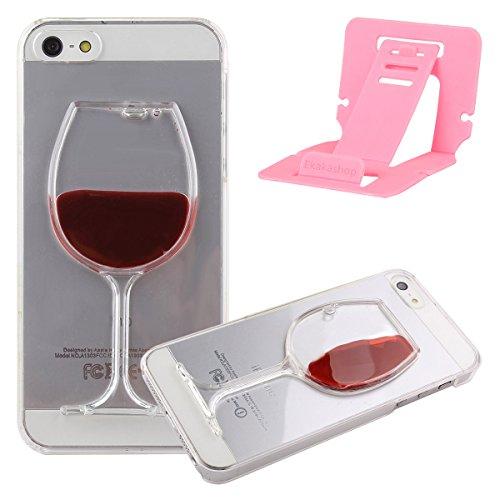 kakashop iPhone 6cas, iPhone 6Case, 3D Design Créatif Fluide Liquide flottant Bling Glitter quciksand dos transparent Housse de protection rigide pour Apple iPhone 6, plastique, Love Heart Pink+Blue Red Wine Glass