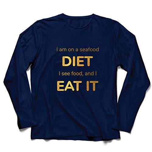lepni.me Herren T Shirts Ich Bin auf Einer Meeresfrüchte-Diät, Lustige Ernährungsliebhaberin (XX-Large Blau Mehrfarben)