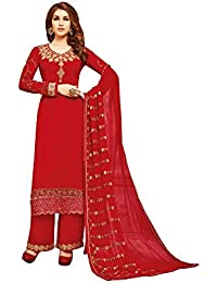 Like A Diva Radiant Red Palazzo Salwar Kameez Georgette Dress Material for Women
