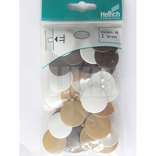 HKB ® 48 Stück Abdeckkappen für Verbindungsbeschlag, Rastex 25, ø 30 mm, farbig sortiert, je 16 x Kunststoff weiß, braun, beige, Hersteller Hettich, Artikel-Nr. 62491