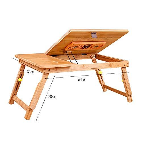 VYN Couchtische Haushalt Lapdesks Klappbare Verstellbare Laptoptisch Tragbare PC Desktop Notebook Ständer Sofa Schreibtisch Bambus Bett Tablett mit Ventilator,54 * 34 cm,