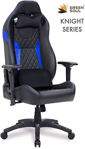 Green Soul Knight Series PU Leather Recline Official Chair with 4D Armrests, Piston, Wheels, Head & Lumbar Pillows, Tilt-Lock (Black & Blue, Large)