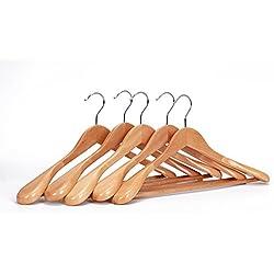 J.S. Hanger Perchas para trajes, de madera auténtica de árbol Guger, con hombros extra anchos, perfectas para abrigos y pantalones, de acabado natural (5 unidades)