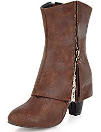 269a55b52 DecoStain Women's Fashion Fringe Zip Mid-Calf Boots Synthetic Pointed Toe  Comfort Knee High Block