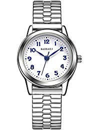 Relojes de Correa elástica de Plata del Resorte, Escala de Números Arábigos Relojes de Pulsera