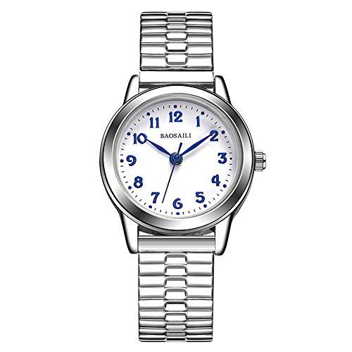 Relojes de Correa elástica de Plata del Resorte, Escala de Números Arábigos Relojes de Pulsera Casual, 26MM Dial Blanca Pequeña