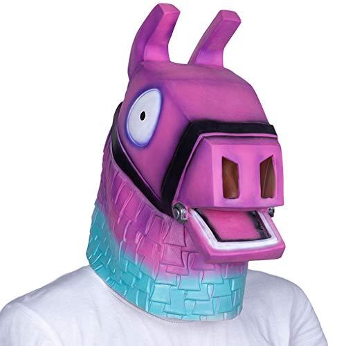Maske Lama Kostüm - FJYDHR Lama Kopf Maske Erwachsene Halloween Party Kostüm Latex Maske Tier Pferd Maske