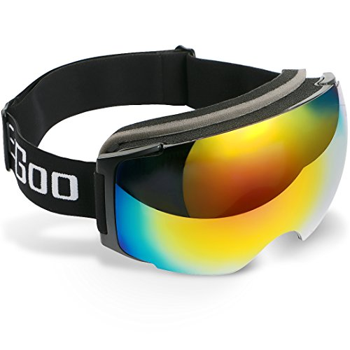 EzGoo Skibrille Snowboardbrille Schneebrille Verspiegelt mit Anti-Fog, UV-Schutz, Austauschbarer Magnet Linse, Sphärisch, Rahmenlos für Damen Herren Jungen Und Mädchen