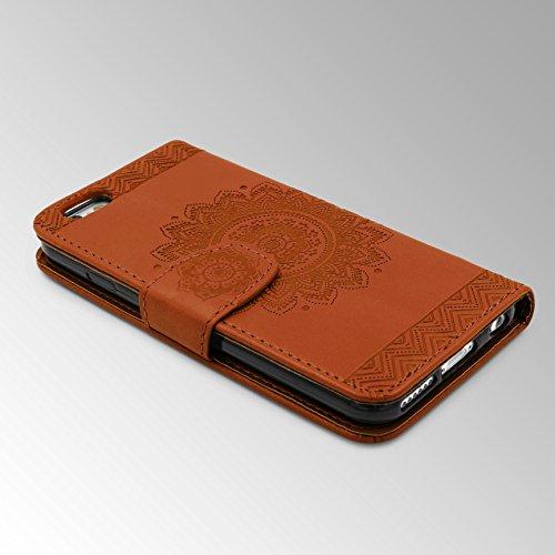 Urcover® Apple iPhone 6 / 6s Handy Schutz-Hülle | Lotus Pattern Wallet Schwarz | Kartenfach & Standfunktion | Flip Case | Trendy Tasche | Cover Schale | Smartphone Zubehör Braun