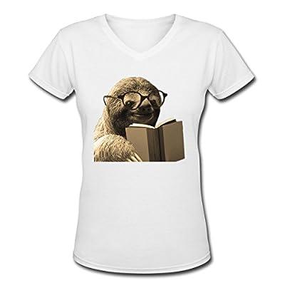 Sloth reading a book vintage fashioned photo artwork Women's V-Neck T-Shirt