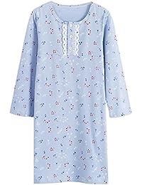Allmeingeld Chemise de nuit Fille 3-10ans Imprimé Fleur coton Robe de nuit Bain à Manches Longues