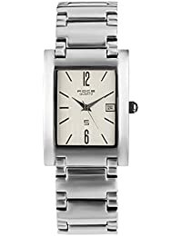 FOCE Silver Rectangle Analog Wrist Watch for Men with Silver Metal Strap - F133GS-SILVER
