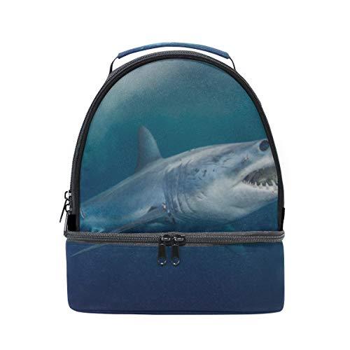 Fierce Awful Shark Tragbare Schule Schulter Tote Lunchpaket Handtasche Kinder Doppel Lunchpaket Wiederverwendbare Isolierte Kühler Für Frauen Student Travel Outdoor