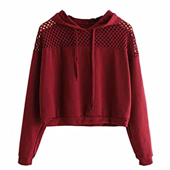 Kapuzenpullover Hoodie Sweatshirt Damen Sunday Langarm Hohl Crop Pullover Tops (S, Rot)