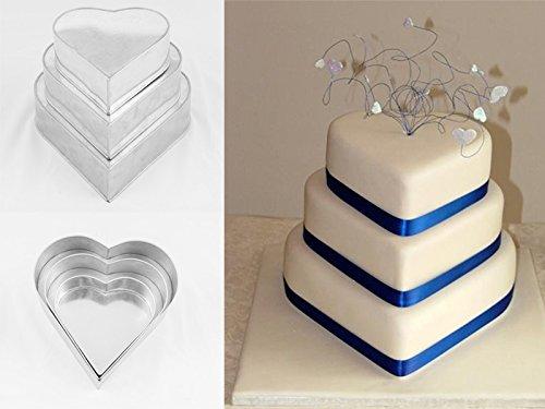 The Cakes World Lot de 3 moules à manqué pour gâteau d'anniversaire à étages Cœur