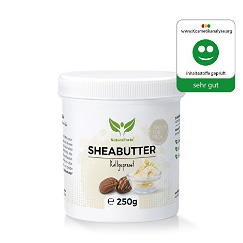 NaturaForte Shea Butter 250g - Rein und Natürlich - Kaltgepresst & Unraffiniert - Spendet Feuchtigkeit - Vegan - Body Butter Karite Männer und Frauen - Trockene Haut - Sheabutter Roh Parfümfrei