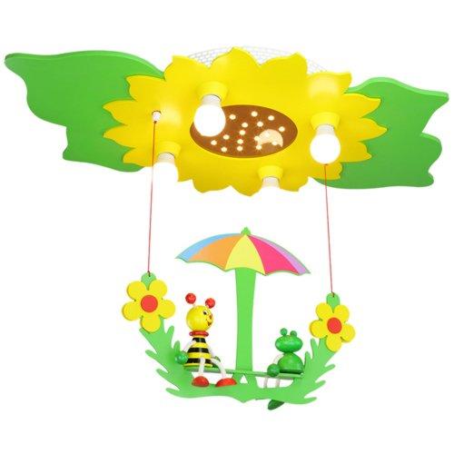 Elobra Deckenleuchte Blume/Blätter mit Schaukel 'Biene und Frosch', grün/gelb 128473