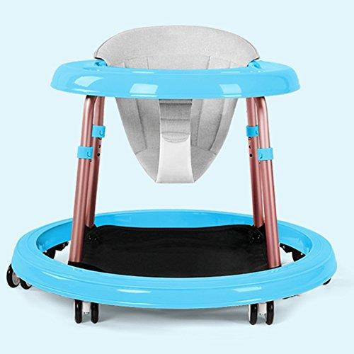 LVZAIXI Baby Walker mit Rädern Multifunktions-Kind Anti-Rollover One-Touch-Folding Baby Walker Mädchen Jungen maximale Belastung 10 kg, ( Farbe : Blau )