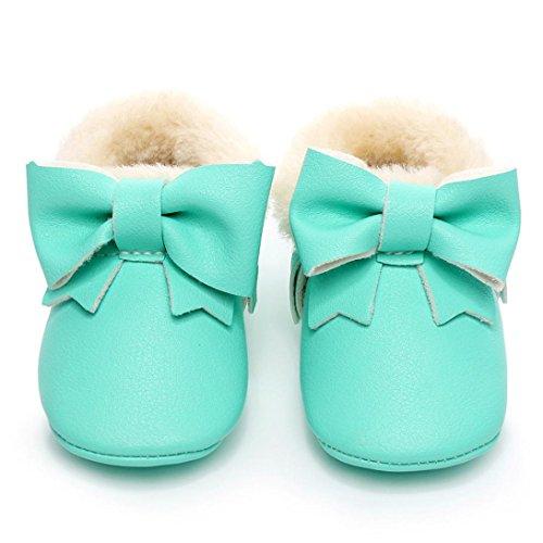 FEITONG Baby Bowknot weiche Sohle Schnee Aufladungen Mehrfarbig Baumwolle Schuhe Kleinkind Stiefel (12 ~ 18 Monat, Silber) Grün