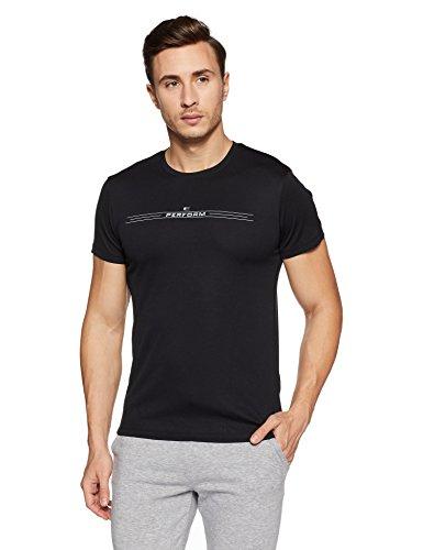 Peter England Perform Men's Plain Round Neck T-Shirt (CKC318005652_Black Solid_Large)
