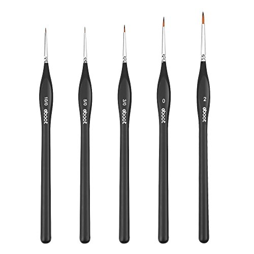 eBoot Detail Paint Brushes Set Artist Paint Brushes Painting Supplies for Art Watercolor Acrylics Oil, 5 Pieces (Black)