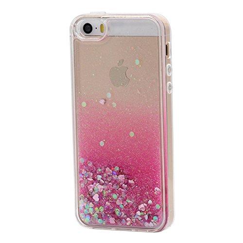 Iphone 5 / 5s / se cover liquido custodia , keyihan divertenti brillantini glitter bling liquid flowing trasparente case silicone morbido bordo per apple iphone 5 5s se(rosa caldo sabbia e cuore)
