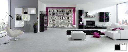 Dreams4Home Wohnwand Square Anbauwand Schrankwand weiß o schwarz hochglanz opt LED-RGB-Beleuchtung, Beleuchtung:mit Beleuchtung;Farbe:Schwarz - 2