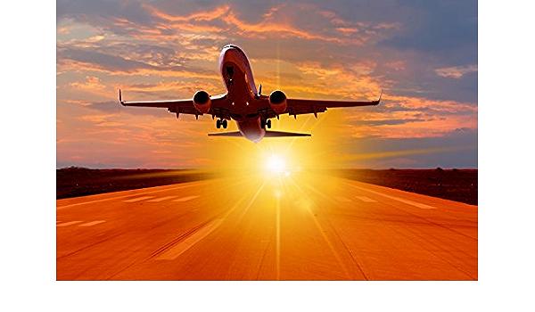 Flugzeug Airline Jet Sonnenuntergang XXL Wandbild Foto Poster P0291