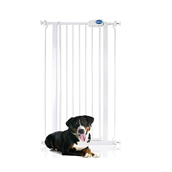 Bettacare Child and Pet Gate Range 75cm - 147.5cm (68.5cm - 75cm, White) Bettacare Pressure Fitted White Metal Gate Double Locking Mechanism 1