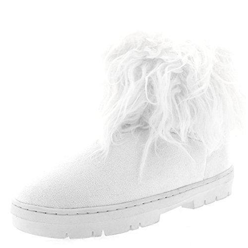 Holly Damen Lange Pelz Bedeckt Regen Pelz Gefüttert Winter Wasserdicht Short Schnee Sitefel - Weiß - UK5/EU38 - BA0491 (Winter Boots Weiße)