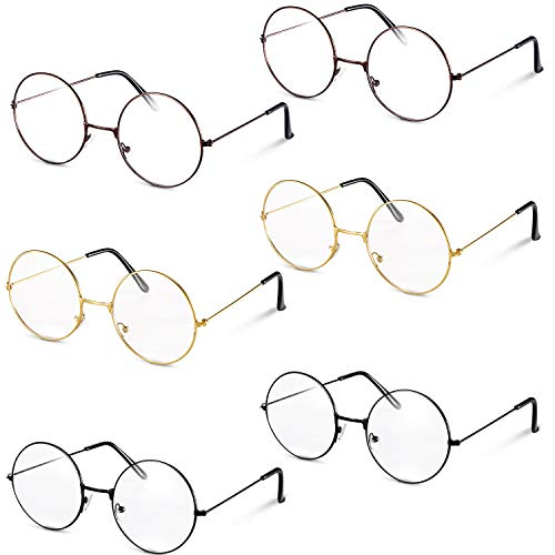 meekoo 6 Paar Metall Rahmen Wizard Brille Rund Draht Kostüm Brille Vintage Freie Objektiv Glas Dünne Rahmen Unisexgläser für Verkleidung
