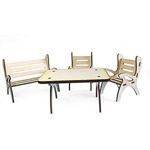 Petra's Bastel News A-GMH08FS1 Tischgruppe, bestehend aus 1 x Tisch, 1 x Gartenbank und 2 Stühle aus Holz, 4-teilig