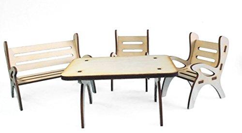 Petra's Bastel-News A-GMH08FS1 Tischgruppe, bestehend aus 1 x Tisch, 1 x Gartenbank und 2 Stühle aus Holz, 4-teilig