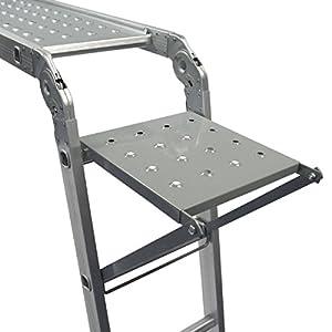 Keraiz 14 en 1 (15.5 pies) 4,7 m plegable Multi escalera con 2 placas de trabajo de andamio y 1 bandeja de herramientas fabricado según las especificaciones EN131 parte 1 y 2, plateado