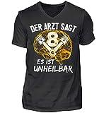 <p>V-8 Motor Shirt · Mechaniker · Werkzeug · Werkstatt · Schrauben · Hebebühne · Kfz · Beruf · Spruch · Pulli · Jacke · Hoodie · T-Shirt · Geschenk - Herren V-Neck Shirt -L-Schwarz</p>