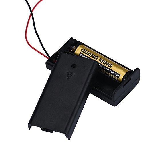 Fygrend 2 x AA 3V Batterie-Halter-Anschluss-Speicher-Fall-Kasten Ein/aus-Schalter mit Anschlusskabel DIY Energien-Bank iQoS Batteriehalter