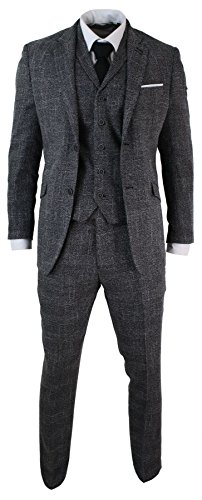 Mens-Tailored-Fit-3-Piece-Grey-Black-Herringbone-Tweed-Vintage-Retro-Formal-Suit
